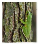 Green Tree Frog Thinking Fleece Blanket