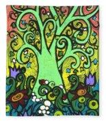 Green Tree With Purple Tulips Fleece Blanket