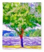 Green Trees By The Water  5 Fleece Blanket