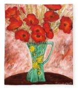 Green Vase And Poppies Fleece Blanket