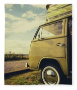Green Vw T2 Camper Van 02 Fleece Blanket