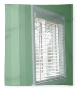 Green Wall White Window Fleece Blanket