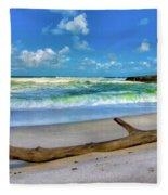 Green Waves Fleece Blanket