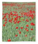 Green Wheat And Red Poppy Flowers Field Fleece Blanket
