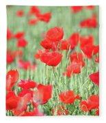 Green Wheat And Red Poppy Flowers Fleece Blanket