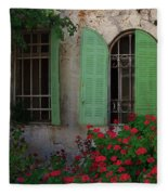 Green Windows And Red Geranium Flowers Fleece Blanket