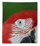Green-winged Macaw Close Up Fleece Blanket