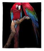 Green Winged Macaw Portrait Fleece Blanket