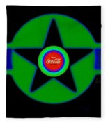 Green With Blue Fleece Blanket