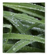 Green With Rain Drops Fleece Blanket