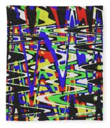 Green Yellow Blue Red Black And White Abstract Fleece Blanket