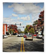 Greensboro Georgia Corner Of Main Street And Broad Street Fall Leaves Greensboro Georgia Art Fleece Blanket