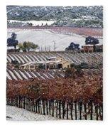 Greenville Vineyard In Snow Fleece Blanket
