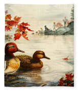 Greenwinged Teal Ducks Fleece Blanket