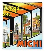 Greetings From Ann Arbor Michigan Fleece Blanket