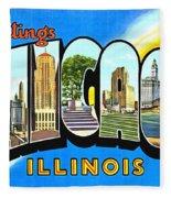 Greetings From Chicago Illinois Fleece Blanket