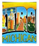Greetings From Detroit Michigan Fleece Blanket
