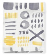 Grey And Yellow Shapes- Abstract Painting Fleece Blanket