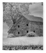 Grey Barn On A Grey Day Fleece Blanket