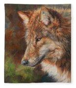 Grey Wolf Face Fleece Blanket