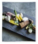 Grilled Pork Sour Cream And Vegetables On Modern Grey Slate Fleece Blanket