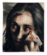Grim Face Of Horror Crying Tears Of Blood Fleece Blanket