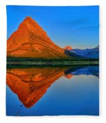 Grinnell Point Alpenglow Panorama Fleece Blanket