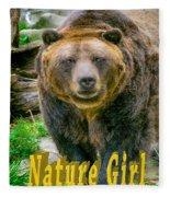 Grizzly Bear Nature Girl    Fleece Blanket