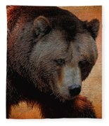 Grizzly Bear Painted Fleece Blanket