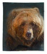 Grizzly Bear Portrait Fleece Blanket