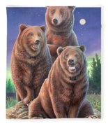 Grizzly Bears In Starry Night Fleece Blanket
