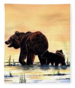 Grizzly Bears Fleece Blanket