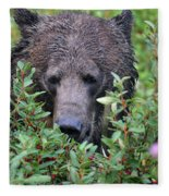 Grizzly In The Berry Bushes Fleece Blanket