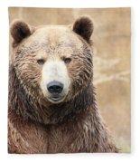 Grizzly Portrait Fleece Blanket
