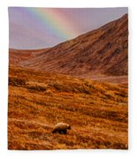 Grizzly Under The Rainbow Fleece Blanket
