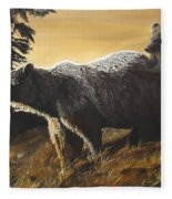 Grizzly With Cub Fleece Blanket
