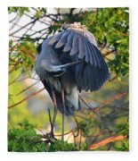Grooming Blue Heron Fleece Blanket
