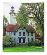 Grosse Point Light Station Fleece Blanket