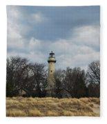 Grosse Point Lighthouse Portrait Fleece Blanket