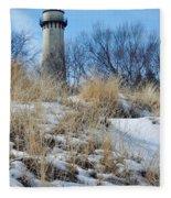 Grosse Point Lighthouse Winter Dunes Fleece Blanket