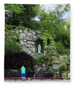Grotto Of Our Lady Of Lourdes Fleece Blanket