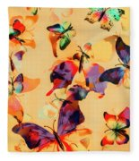 Group Of Butterflies With Colorful Wings Fleece Blanket