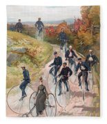 Group Riding Penny Farthing Bicycles Fleece Blanket