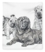 Growing Up Chinese Shar-pei Fleece Blanket