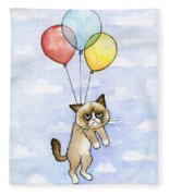 Grumpy Cat And Balloons Fleece Blanket