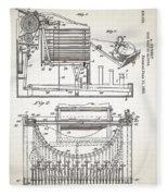 Grundy Typewriter Patent 1889 Fleece Blanket