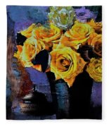 Grunge Friendship Rose Bouquet With Candle By Lisa Kaiser Fleece Blanket