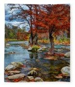 Guadalupe River In Autumn Fleece Blanket