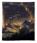Guggenheim At Night II Fleece Blanket
