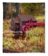 Guildhall Grist Mill In Fall Fleece Blanket